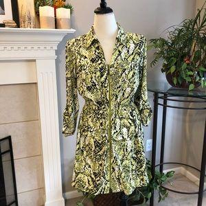 Alfani Lemon Snakeskin Print Casual Dress